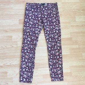 MNG by Mango Floral Burgundy Purple Skinny Pants 6
